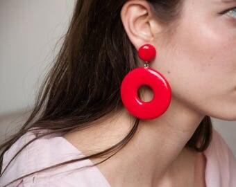 red oversized hoops / drop hoop earrings / statement earrings / 1671a