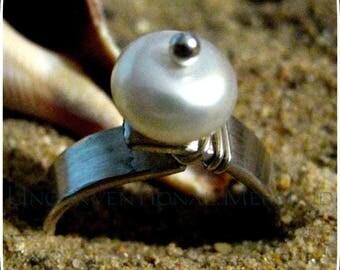 "Beach Jewelry, Sea Theme Jewelry, Pearl Ring, Hand Stamped Jewelry, Hand Stamped Ring, Sterling Silver ""seas the day"" Freshwater Pearl Ring"