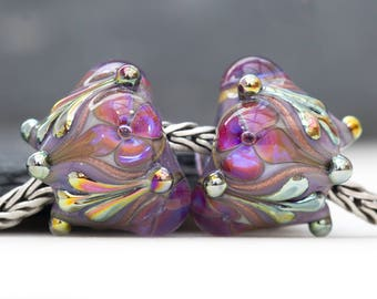 Victorian Style Ornate Floral Flourish Lustre Bead Handcrafted Lampwork Glass European Charm Big Holed Pink Purple by Clare Scott SRA