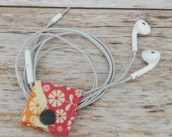 Fabric Cable iPhone Cord Holder Earphone Earbud Holder Cable Holder Cable Cord Organizer Cable Organiser - Mini Flowers on Pink Fabric