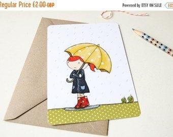 SALE Rain Postcard - Clara in the Rain - Yellow Umbrella Notecard - Single Card (Blank)
