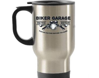 Biker Garage Stainless Steel Insulated Travel Mug
