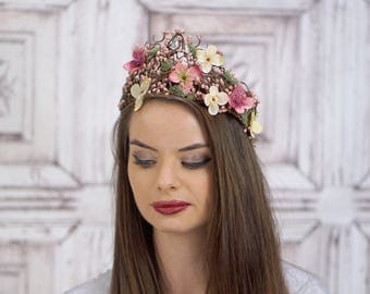 Woven Bridal Crown, Vintage Style Bridal Headpiece, Blush Pink and Ivory Floral Crown, Elven Headdress, Circlet, Fairy Crown, Woodland, Moss