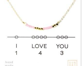 Secret Code Necklace - Friendship Necklace - I love you 143 Necklace - Pink