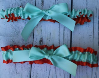 Aqua and Orange Satin Garter Set-Includes Toss Garter- Bows-No Bling