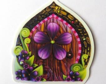 Purple Flower Fairy Door Vinyl Sticker Original Artwork