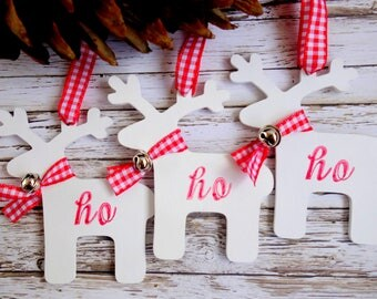 Wood reindeer red and white fun Christmas ornaments with 'Ho Ho Ho', gingham ribbon & bell.