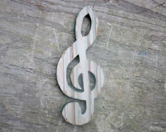 Wooden G Clef, Musician Gift Recycled Musical Art, Wood Treble Clef Music Wall Art, Music Teacher Gift, Reclaimed Wood Art, Musician Gift