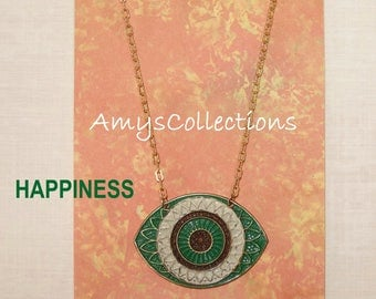 MANDALA (HAPPINESS) EYE, Hand-painted, Delicate Solid Brass Chain Necklace (Green)