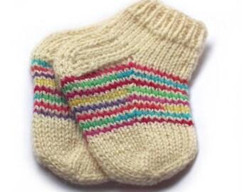 100% wool kids socks Handknit 3-4 year old Free Shipping