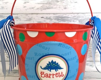 ON SALE personalized bucket for the dinosaur boy - 10 quart size