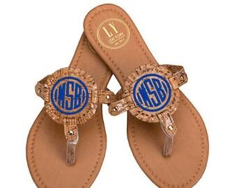ON SALE Monogrammed Cork Sandals - Medallion Flip Flops - Monogram Sandals - Monogram Flip Flops - Personalized Sandals - Monogram Sandals