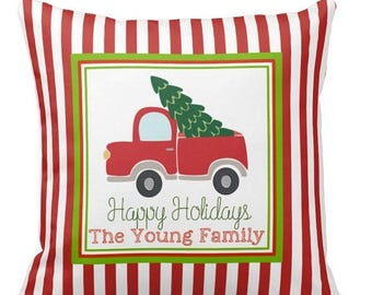 """ON SALE Vintage Truck Christmas decorative pillow - personalized - 16"""" pillow - design on both sides - insert included - zipper closure"""