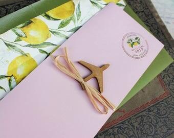 Lemon Boarding Pass Wedding Invitation (Sorrento, Italy) - Design Fee