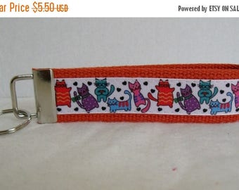 20% OFF Cats Key Fob - Kitty Cat Key Chain - Cat Wristlet Keychain - Cat Lover Gift - ORANGE