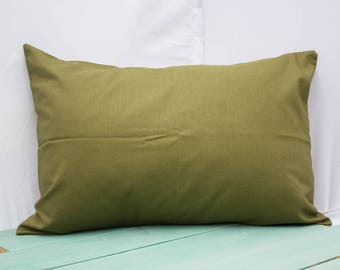 Solid Army Green Pillowcase - fits 13 x 18 or 12 x 18 Travel or Camping Pillow