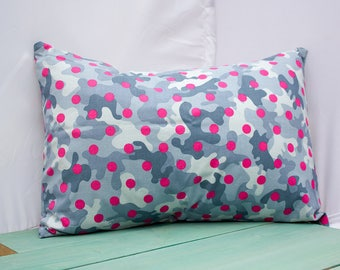 Gray Camo Pink Dot Pillowcase - fits 13 x 18 or 12 x 18 Travel or Toddler Pillow