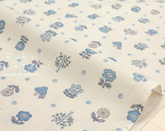 Japanese Fabric flowers and mushrooms - blue on natural - 50cm
