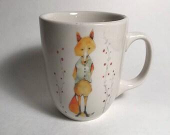 fox coffee ceramic mug woodland animal mug farmhouse kitchen