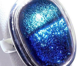 Blue Dichroic Glass Sterling Silver Ring Size 6.75