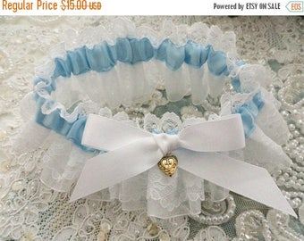 On Sale Pleated Lace and Bridal Blue Garter-Something Blue For You-Last One-1- Fits 14-18 inches
