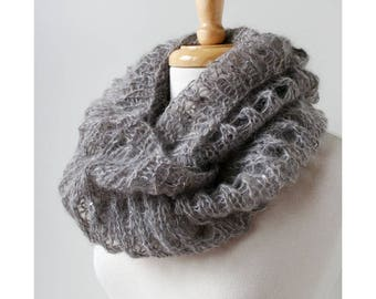 GREY with SEQUINS Infinity Scarf, Hand Knit in Kid Mohair and Silk, Luxurious Scarf, Women's Scarf, Gray, Infinity, Hygge, Loop, Circle