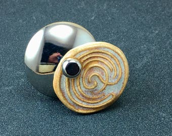 Labyrinth  Silver Plated Adjustable Customizable Spinner Ceramic Bead Ring Handmade by Me