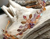 ON SALE Boho Wedding Tiara Autumn Flame Amethyst and Copper