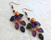 ON SALE Art Nouveau Amethyst Harvest Earrings