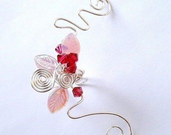 ON SALE Pink Cherry Blossom Ear Cuff Ear Jacket Climber, No Piercing, Fairy Jewelry, Fantasy Vine Wrap, bridal ear cuff