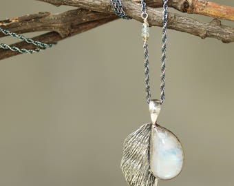 Moonstone necklace in silver bezel setting with silver leaf in hard textured with aquamarine beads secondary on oxidized silver chain/TP