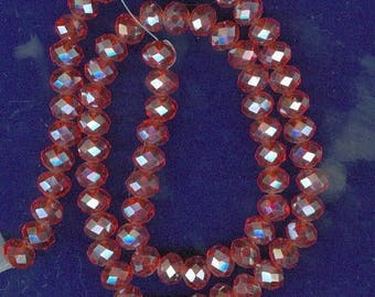 CLEARANCE 8mm x6mm Red Faceted AB Glass Abacus Rondelle Spacer Beads 16 inch Bead Spacers