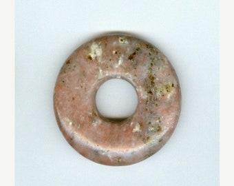 PI DAY SALE 40mm Red Jasper with Cream Dots and Black Gemstone Pi Donut Pendant 936B