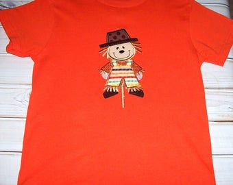 Sample Sale Boys Fall Scarecrow Applique Orange S/S T-shirt size 7--Fall--Thanksgiving--Halloween--Holiday