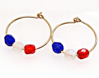 """SALE Hoop Earrings Gold Filled with Red White and Blue Czech Beads 5/8"""" 16mm"""