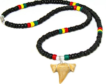 Fossil Sharks Tooth Shark Teeth Rasta Style Necklace Surfer SUP 18 in. & 22 in. 7001M