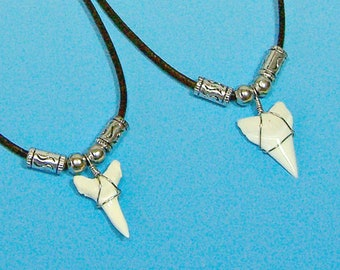 New White Tip Shark Tooth Necklace Black Cord 16, 18, 22 Inches Upper Lower Jaw Sharks Teeth 7010W