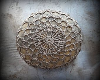 Crocheted Stone, Original Handmade One of a Kind Design, Lace, Decorative Doily, Home Decor, Rustic, Nature, Mocha Thread, Large, Monicaj