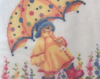 Yellow Umbrella Bear Needlepoint Canvas from DMC Canvas Collection