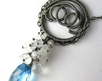 SUMMER SALE Summer Sky Necklace - Sky Blue Topaz and Moonstone in Silver