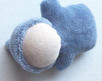denim blue, miniature pocket doll, ready to ship doll, Waldorf toy, stocking stuffer, nature table, natural fiber doll