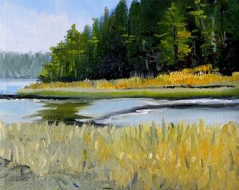 Landscape Oil Painting, Original Northwest Coastal Scene, Evergreen Trees, Salt Creek, Waterway, Blue Green, Gold, Juan de Fuca,  8x8 Canvas