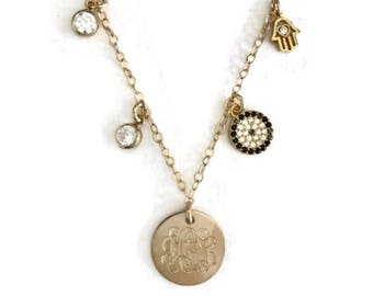 Monogram personalized gold initial disc necklace with cubic zirconia accents, hamsa, evil eye Perfect gift for mother's day!