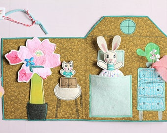 Bunny house fabric activity book, quiet book