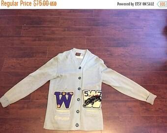 Closing Shop 40%off SALE 40's 50's Vintage Letterman Cardigan Sweater  EMMA