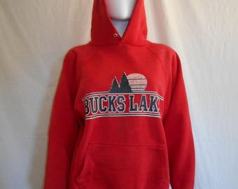 Closing Shop 40%off SALE Bucks Lake California Vintage 80's 90's Red  Pull Over Sweatshirt hoodie hooded