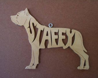 Staffy Staffordshire Terrier Dog Wooden Decoration Ornament Wood Cut Out