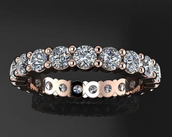 ready to ship portia ring - NEO moissanite eternity band, 14k rose gold anniversary band, size 5