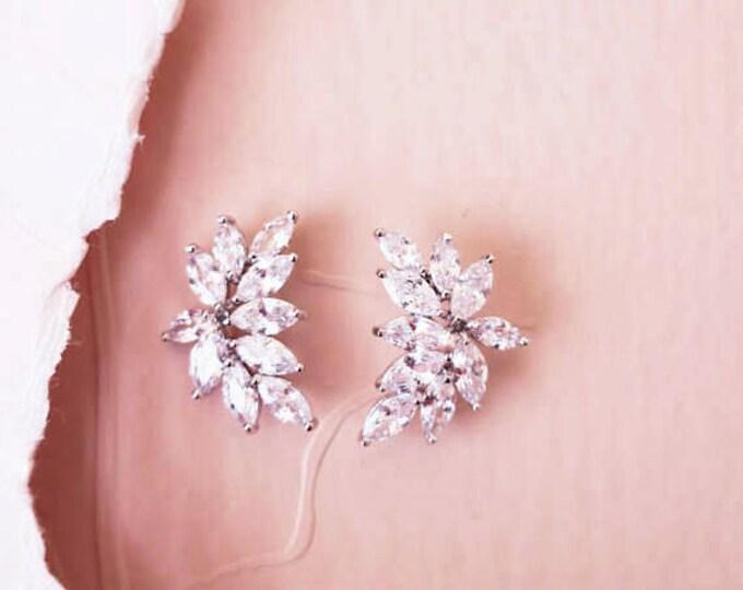 1920s Leaf Crystal Bridal Ear Studs