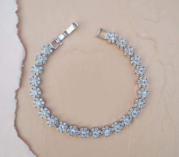 crystal bridal bracelet, Cubic zirconia wedding bracelet